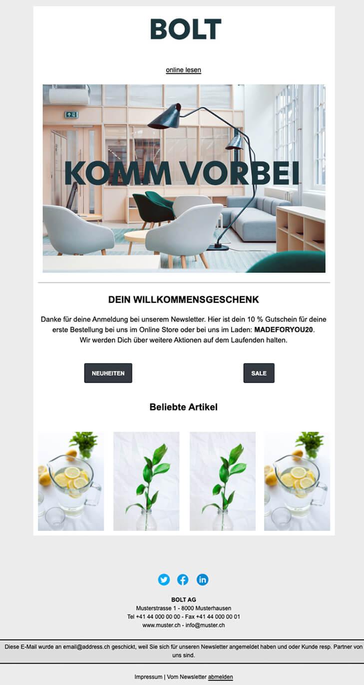 Unsere fiktives Mailing, gemacht mit «Swiss Newsletter»