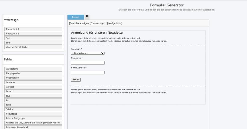 Formular Generator