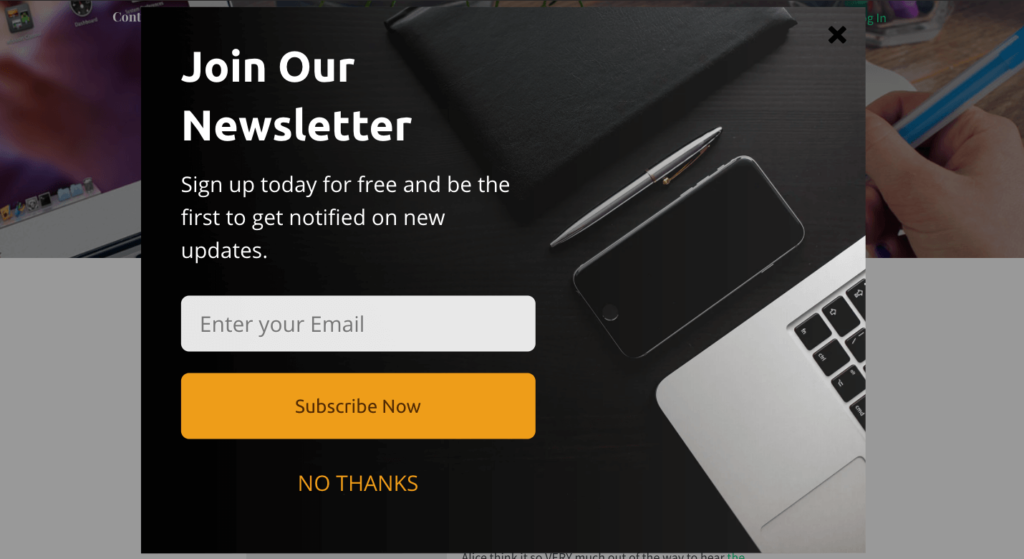 Exit-Intent Popup Newsletter